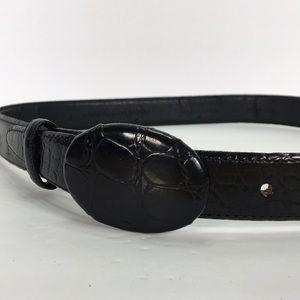 Talbots M Italian leather belt crocodile embossed